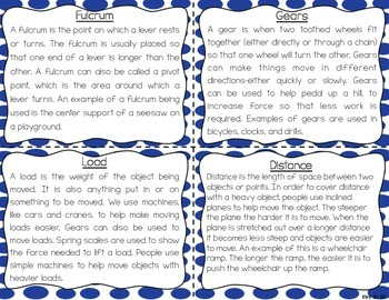 Simple Machines Task Cards for Reading Comprehension & Fluency