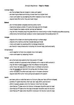 Simple Machines Teacher Notes
