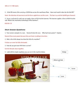 Simple Machines Test and Key
