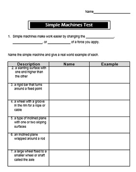 Simple Machines Test and Review Sheet