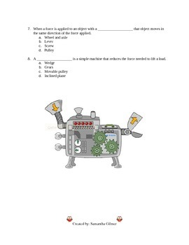 Simple Machines Test with Answer Key