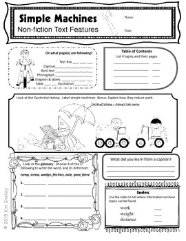 Simple Machines Text Features and Foldable by CCI