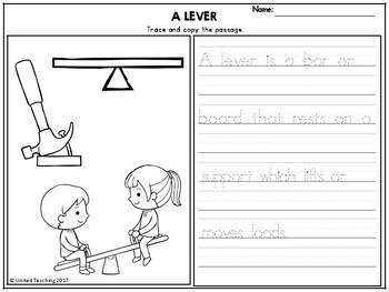 Simple Machines Theme Based Handwriting Lessons (Manuscript Edition)