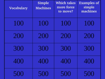 Simple Machines Trivia Game