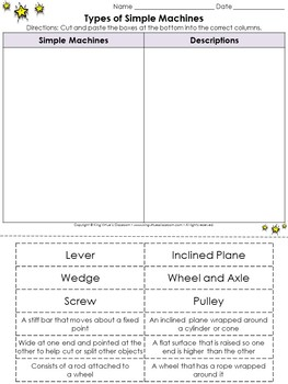 Simple Machines: Types of Simple Machines Cut and Paste Activity