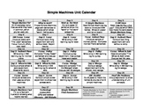 Simple Machines Unit Calendar