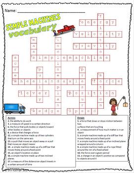 Simple Machines Vocabulary Crossword Puzzle Activity