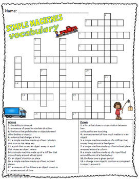 simple machines vocabulary crossword puzzle activity by jersey girl gone south. Black Bedroom Furniture Sets. Home Design Ideas