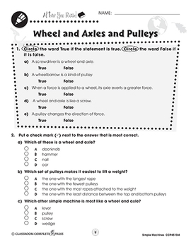 Simple Machines: Wheel and Axles and Pulleys Gr. 5-8