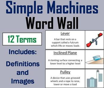 Simple Machines Word Wall Cards