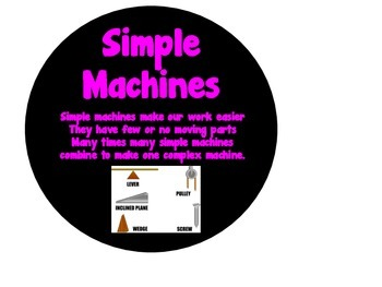 Simple Machines Word Wall Circles: Levers and Pulleys