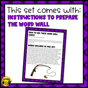 Simple Machines Word Wall Words- Editable