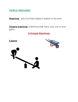 Speech Therapy-Special Education-Simple Machines Worksheet