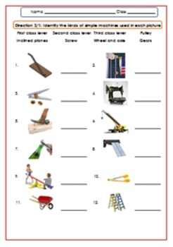 Simple Machines Worksheet/Test/Exercises For G.4-6
