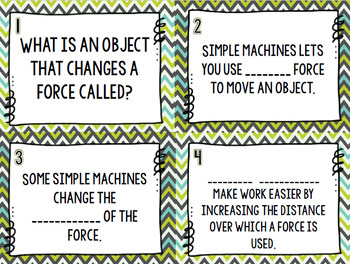 Simple Machines and Force & Motion Review Task Cards - Set of 28