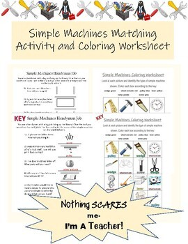 Simple Machines and Tools Matching and Coloring Worksheets