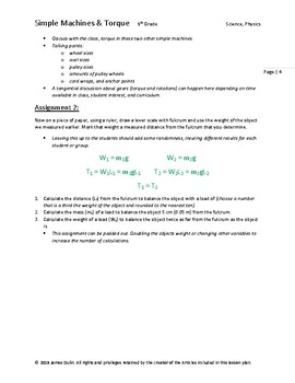 Simple Machines and Torque Lesson Plan