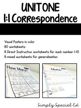 Simple Math: 1:1 Correspondence Unit for Students with Special Needs