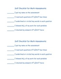 Simple Math Assessment Checklist