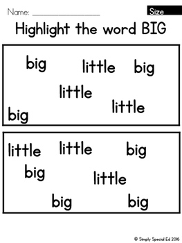 Simple Math: Big or Little & Size Unit for Students with Special Needs