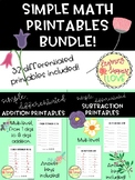 Simple Math Printables BUNDLE!