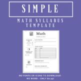 Simple Math Syllabus Template