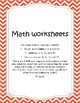 Simple Math Work Sheets