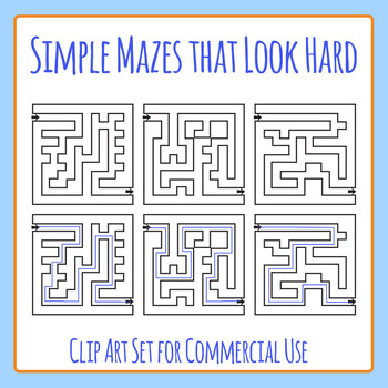 Simple Mazes That Look Hard Clip Art Set for Commercial Use
