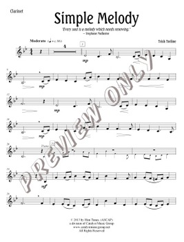 Simple Melody - Clarinet (Includes Full Performance and Piano Acc. mp3)