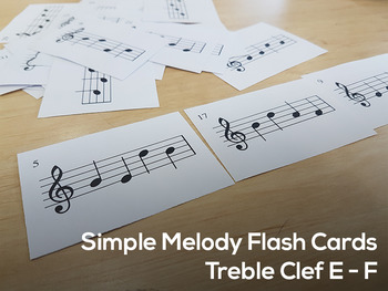 96 Simple Melody Flash Cards - Treble Clef
