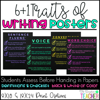 Simple/Modern Secondary 6 + 1 Traits of Writing Posters-Grades 6-12