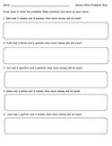 Simple Money Word Problems Quiz