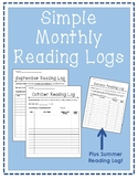 Simple Monthly Reading Logs (Whole School Year)