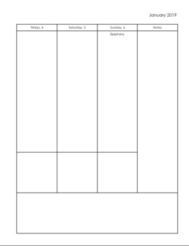 Simple Monthly/Weekly Black & White 2019 Planner with Monday Start Date