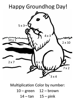 Simple Multiplication Color By Number - Groundhog Day