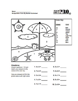 Simple Multiplication Color By Numbers Worksheet