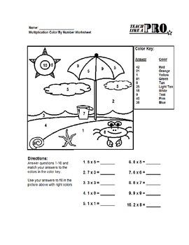 Simple Multiplication Color By Numbers Worksheet
