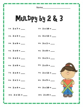 Simple Multiplication Problems- Multiplying by two and three