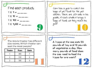 Simple Multiplication Task Cards {English only}