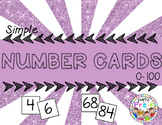 Simple Number Cards 0-100 for Pocket Charts, Centers, Games, Calendar, Etc.