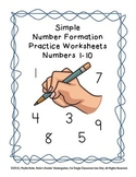 Simple Number Formation Practice Worksheets 1-10