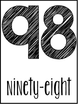 Simple Number Posters (Numbers 0-100)