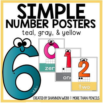 Smiley Number Posters (Teal, Gray, Yellow)
