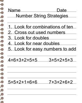 Simple Number String Strategies