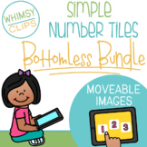 Simple Number Tiles Clip Art BOTTOMLESS BUNDLE - MOVEABLE Images