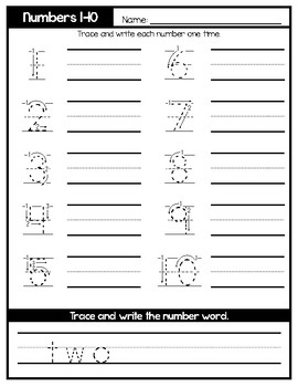 Simple Number Tracing Worksheets : 0-20, & Multiples of 10
