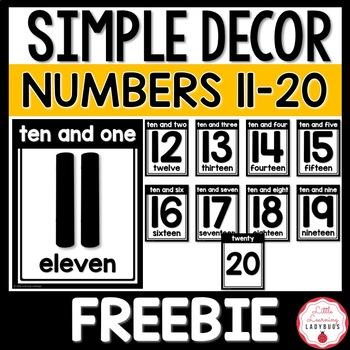 Simple Numbers 11-20 Posters FREEBIE