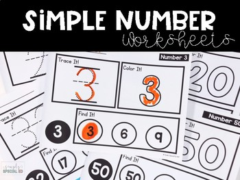 Simple Numbers: Worksheets for Special Education