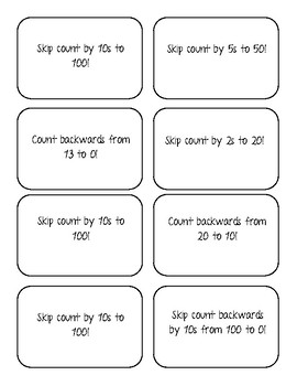 Simple Numeracy Task Cards