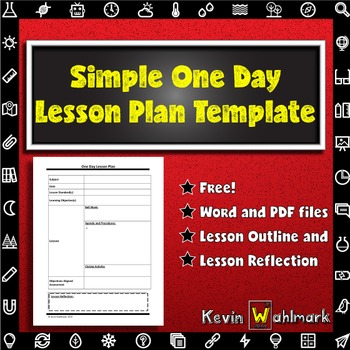 One Day Lesson Plan Template Teaching Resources Teachers Pay Teachers